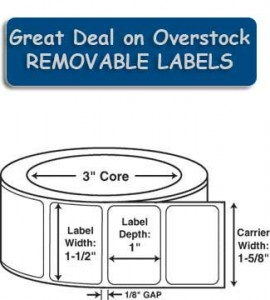 removable adhesive label
